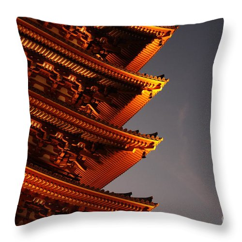 Temple Throw Pillow featuring the photograph Temple Lights by Carol Groenen