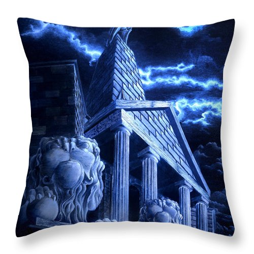 Hercules Throw Pillow featuring the drawing Temple Of Hercules In Kassel by Curtiss Shaffer