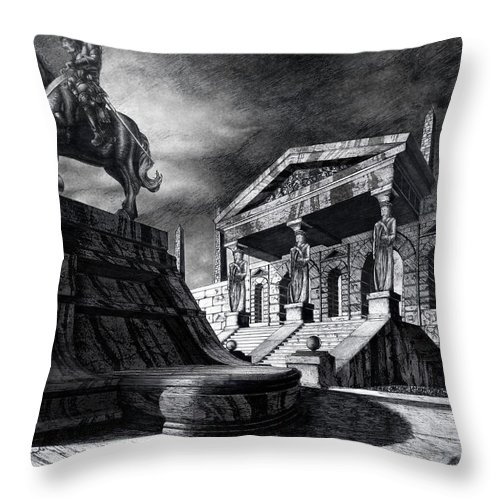 Greek Architecture Throw Pillow featuring the drawing Temple Of Perseus by Curtiss Shaffer