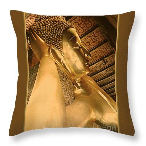 Thai Throw Pillow featuring the photograph Temple Of Reclining Buddha by Linda Parker