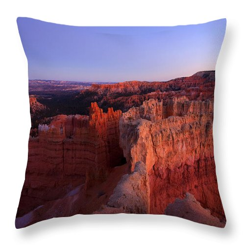 Hoodoo Throw Pillow featuring the photograph Temple of the setting sun by Mike Dawson