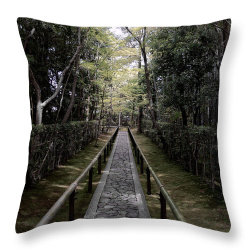 Garden Throw Pillow featuring the photograph Temple Path - Kyoto Japan by Daniel Hagerman