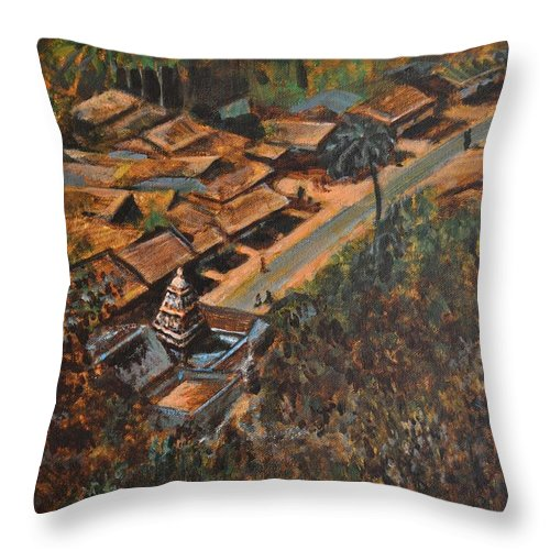 Temple Throw Pillow featuring the painting Temple Town by Usha Shantharam