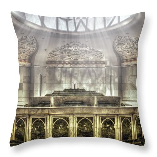 Abstract Throw Pillow featuring the photograph Temple Washroom by John Swartz
