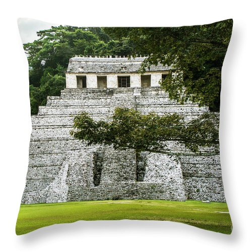Ancient Civilizations Throw Pillow featuring the photograph Templo De Las Inscripciones by Kathy McClure