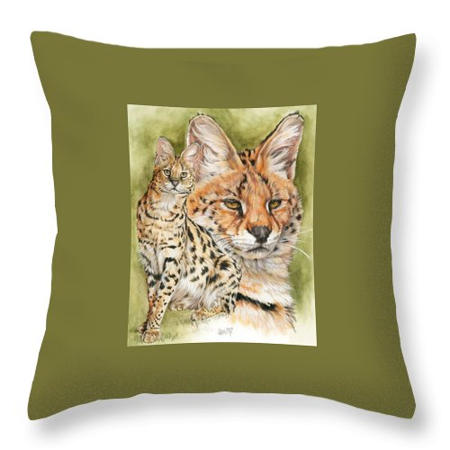 Serval Throw Pillow featuring the mixed media Tempo by Barbara Keith