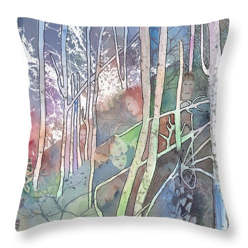 Forest Throw Pillow featuring the mixed media Ten Faces In The Mystical Forest by Arline Wagner