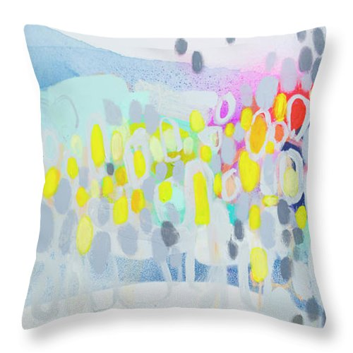Abstract Throw Pillow featuring the painting Ten O'clock Flight by Claire Desjardins