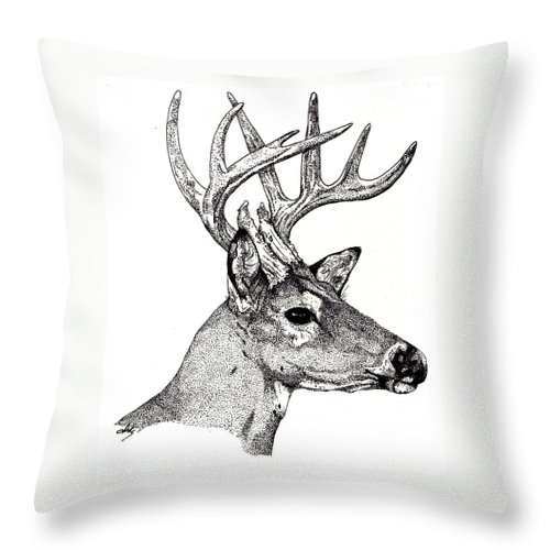 Deer Throw Pillow featuring the drawing Ten Point Buck by Debra Sandstrom
