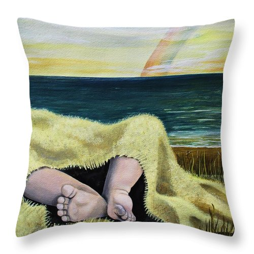 Baby Throw Pillow featuring the painting Ten Precious Toes by Kris Crollard