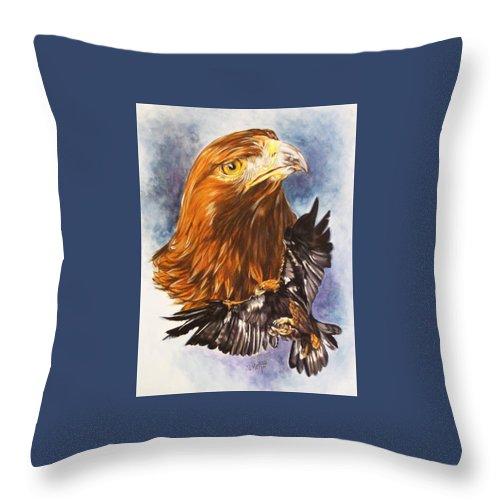 Eagle Throw Pillow featuring the mixed media Tenacity by Barbara Keith