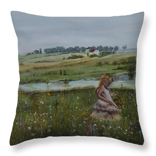 Impression Throw Pillow featuring the painting Tender Blossom - Lmj by Ruth Kamenev