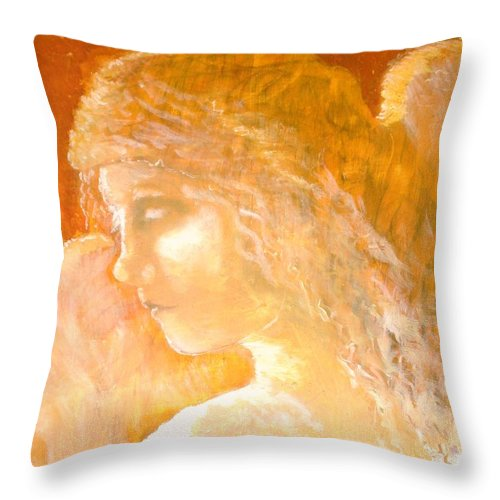 Angel Throw Pillow featuring the painting Tender Mercy by J Bauer