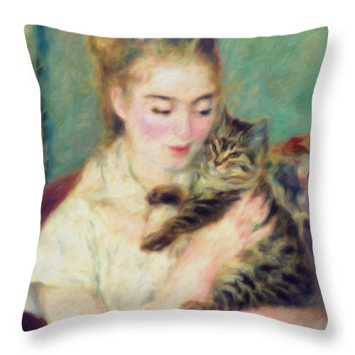 Tenderness Of A Woman Throw Pillow featuring the painting Tenderness Of A Woman by Georgiana Romanovna