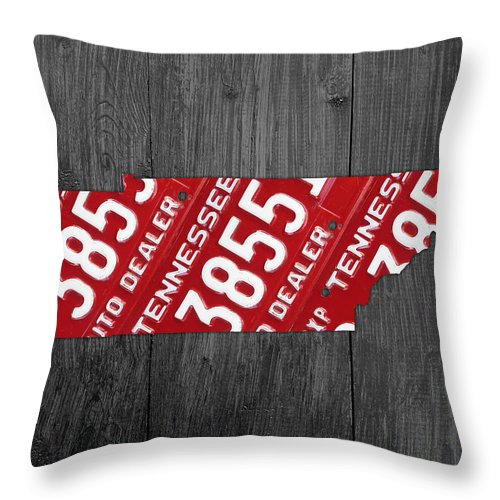 Tennessee Throw Pillow featuring the mixed media Tennessee State License Plate Map by Design Turnpike