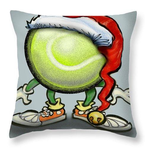 Tennis Throw Pillow featuring the greeting card Tennis Christmas by Kevin Middleton