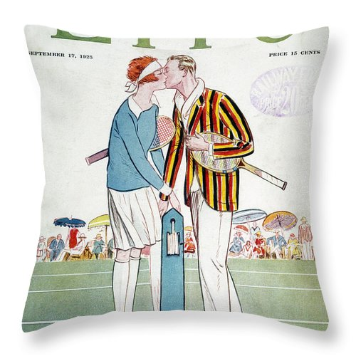 1925 Throw Pillow featuring the photograph Tennis Court Romance, 1925 by Granger