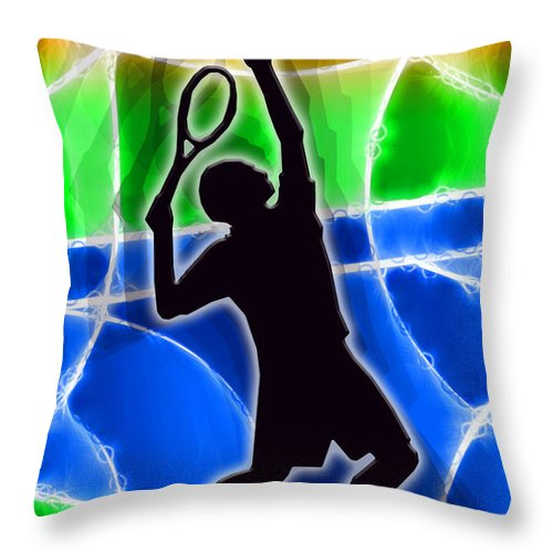 Tennis Throw Pillow featuring the digital art Tennis by Stephen Younts