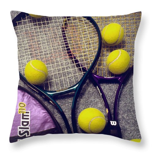 Tennis Throw Pillow featuring the photograph Tennis Still Life 2 by Steve Ohlsen
