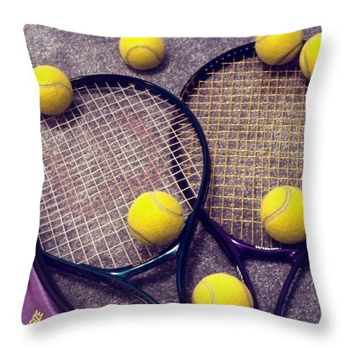 Tennis Throw Pillow featuring the photograph Tennis Still Life 3 by Steve Ohlsen