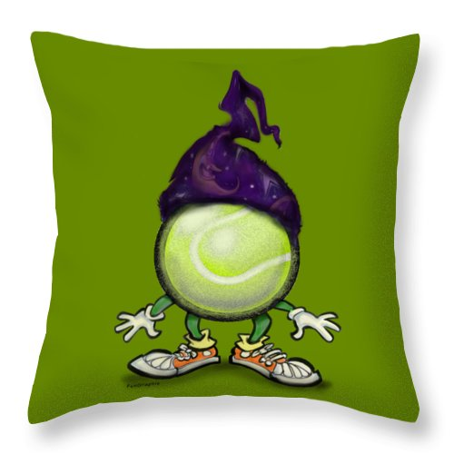 Tennis Throw Pillow featuring the digital art Tennis Wiz by Kevin Middleton
