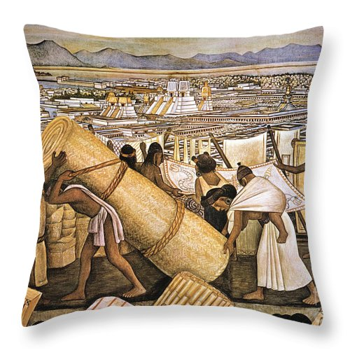 American Indian Throw Pillow featuring the photograph Tenochtitlan (mexico City) by Granger