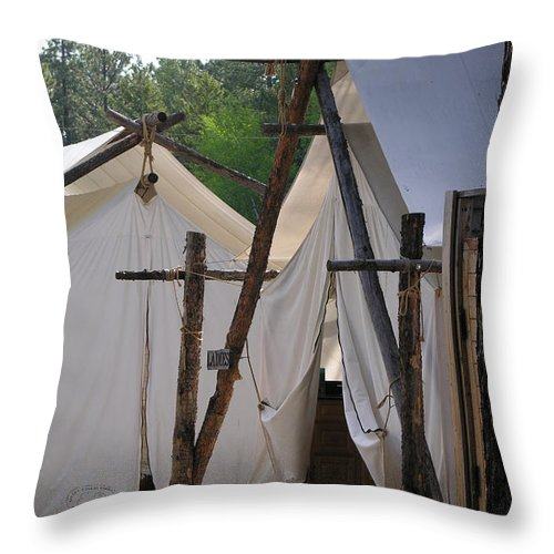 Montana Throw Pillow featuring the photograph Tent Living Montana by Diane Greco-Lesser