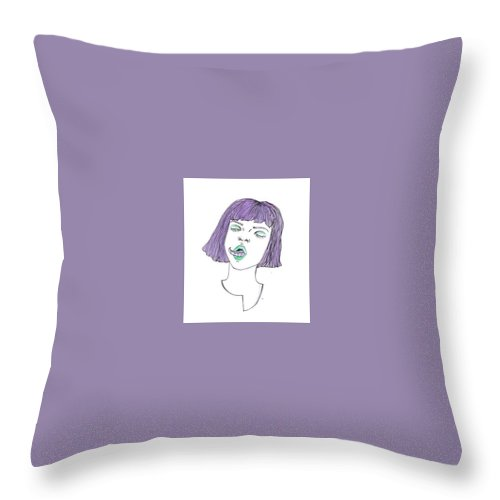 Green Purple Tentacle Girl Throw Pillow featuring the drawing Tentatongue by Alyssa Torres
