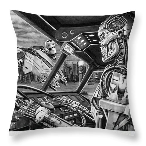 Pencil Throw Pillow featuring the drawing Terminator by Murphy Elliott