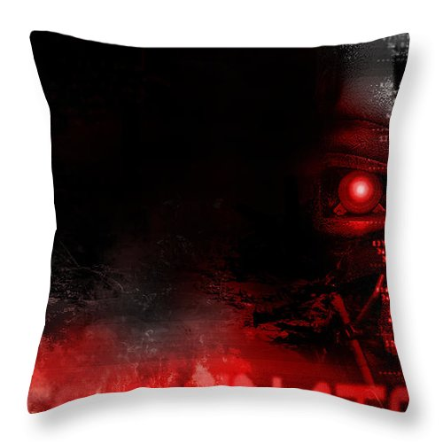 Terminator Throw Pillow featuring the digital art Terminator by Zia Low