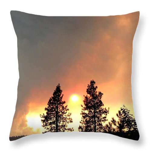 Forest Fire Throw Pillow featuring the photograph Terrace Mountain Fire 2 by Will Borden