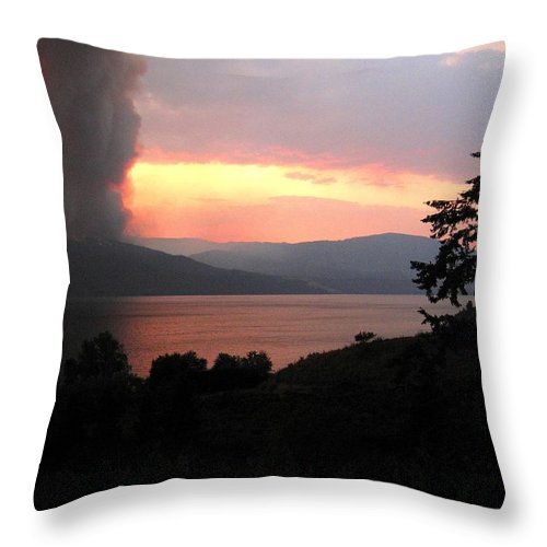 Forest Fire Throw Pillow featuring the photograph Terrace Mountain Fire 4 by Will Borden