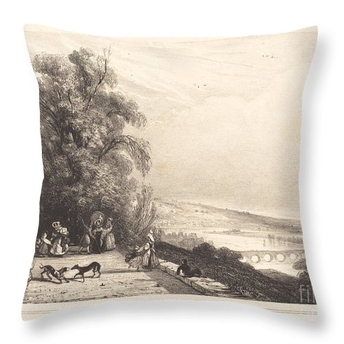 Throw Pillow featuring the drawing Terrace Of St. Cloud (terrasse De St. Cloud) by Paul Huet