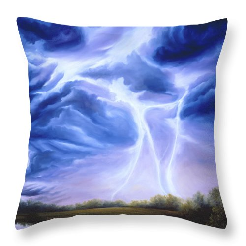 Marsh Throw Pillow featuring the painting Tesla by James Christopher Hill