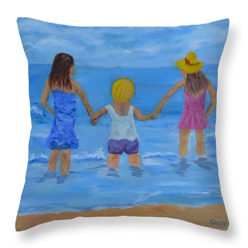 Children At The Beach Painting Throw Pillow featuring the painting Testing The Water by Sally Jones