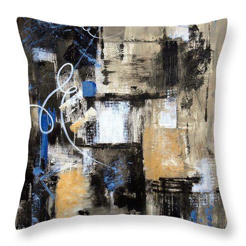 Abstract Throw Pillow featuring the painting Testing The Waters by Ruth Palmer