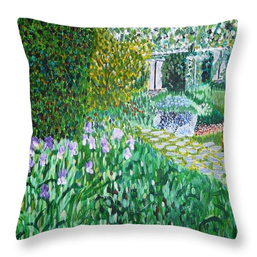 Landscape Throw Pillow featuring the painting Tete D'or Park Lyon France by Valerie Ornstein