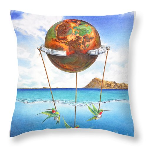 Surreal Throw Pillow featuring the painting Tethered Sphere by Melissa A Benson