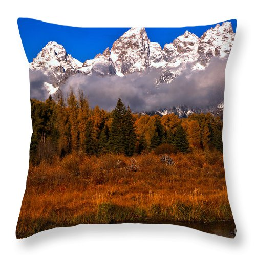 Gtnp Throw Pillow featuring the photograph Teton Peaks Above Fall Foliage by Adam Jewell