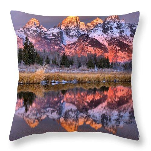 Teton Throw Pillow featuring the photograph Teton Sunrise Spectacular by Adam Jewell
