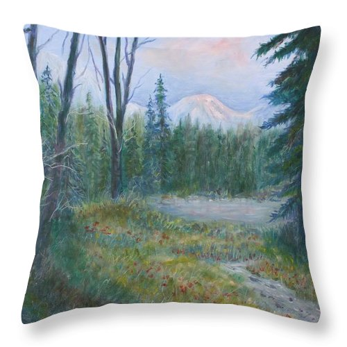 Landscape Throw Pillow featuring the painting Teton Valley by Ben Kiger
