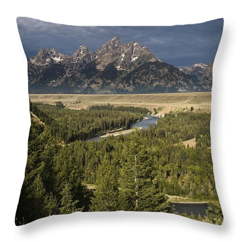 Grand Tetons Throw Pillow featuring the photograph Teton Valley Snake River by Chad Davis