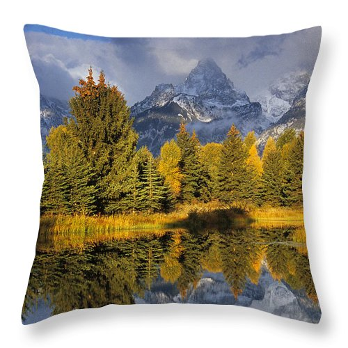 Scenic Throw Pillow featuring the photograph Tetons And Schwabacher Pond by Doug Davidson
