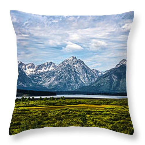 The Grand Tetons Throw Pillow featuring the photograph Tetons - Panorama by Shane Bechler