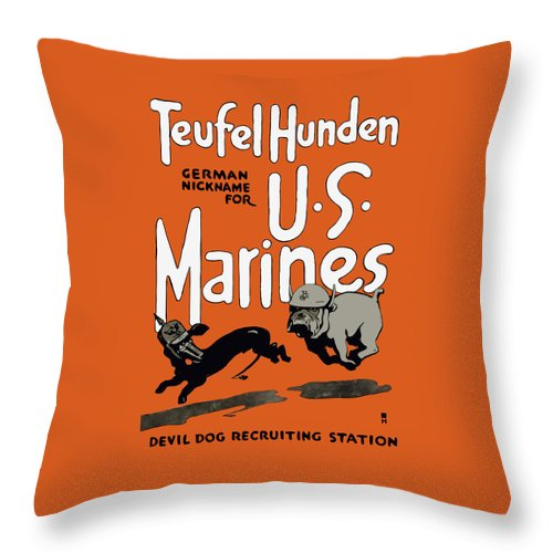 Marine Corps Throw Pillow featuring the painting Teufel Hunden - German Nickname For Us Marines by War Is Hell Store