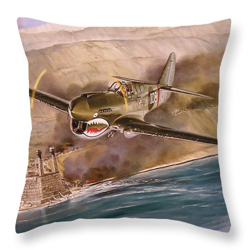 Painting Throw Pillow featuring the painting Tex Hill Over The Salween Gorge by Marc Stewart