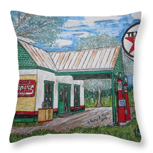 Nostalgia Throw Pillow featuring the painting Texaco Gas Station by Kathy Marrs Chandler
