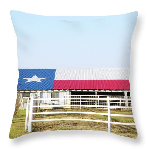 Texas Throw Pillow featuring the photograph Texas Barn by Robyn Stacey
