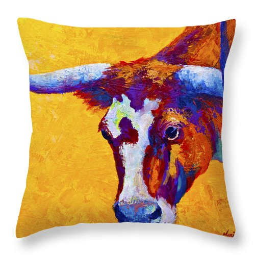 Longhorn Throw Pillow featuring the painting Texas Longhorn Cow Study by Marion Rose