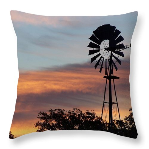 Windmill Throw Pillow featuring the photograph Texas Sunrise by Gale Cochran-Smith